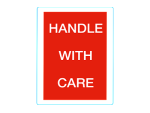 Handle with care waarschuwingsetiketten